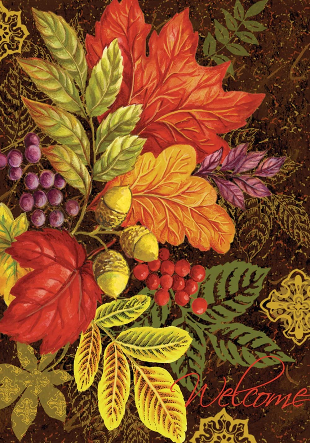 Toland Home Garden Changing Colors 28 x 40 Inch Decorative Fall Autumn Leaves Acorn Berries House Flag
