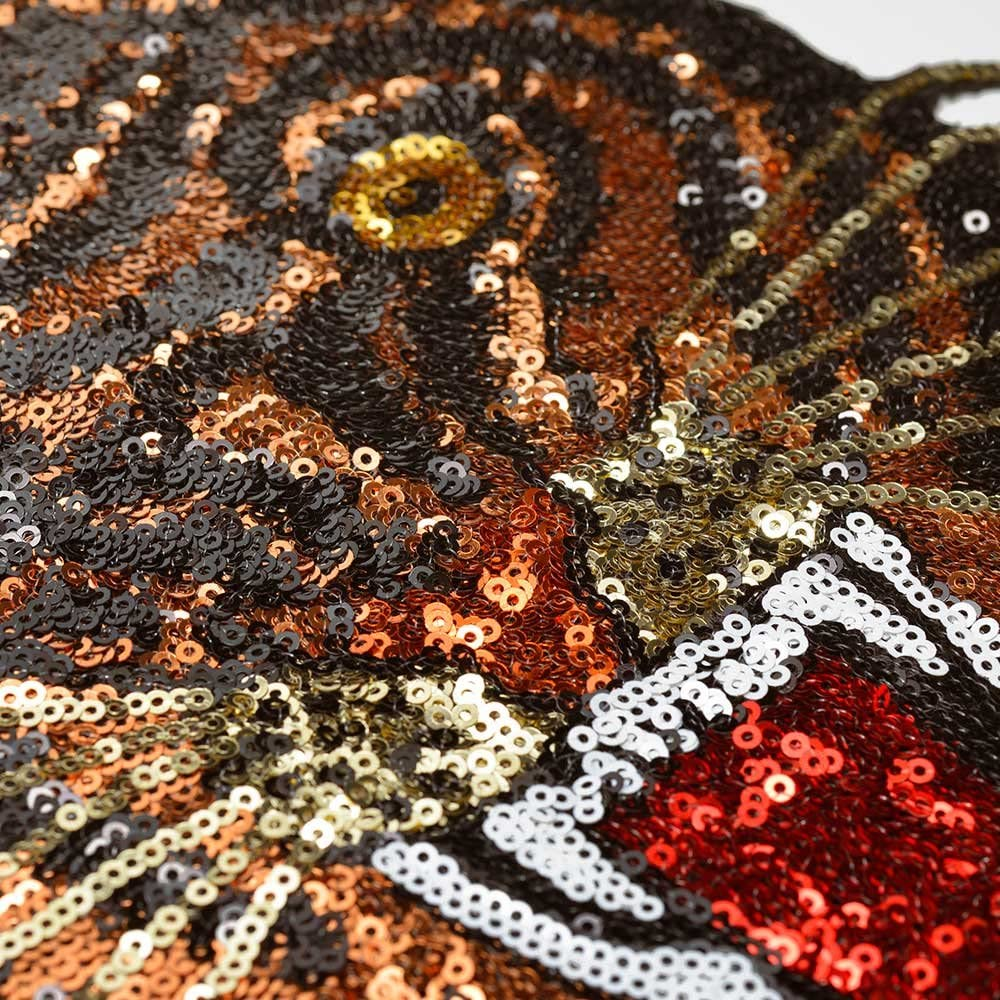 Brown 9-1//2 high TR-11659 Tiger Sequin Iron-On or Sew Applique Patch by pc