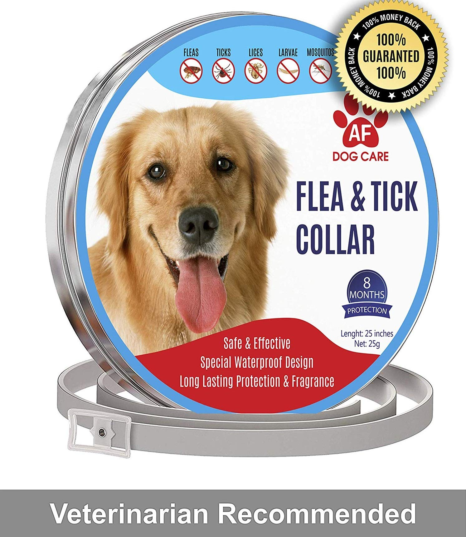 AF Dog Flea and Tick Control Collar - 8 Months Flea and Tick Control for Dogs - Natural, Herbal, Non-Toxic Dog Flea Treatment - Waterproof Protection and Adjustable Best Flea Collar for Dogs by AF
