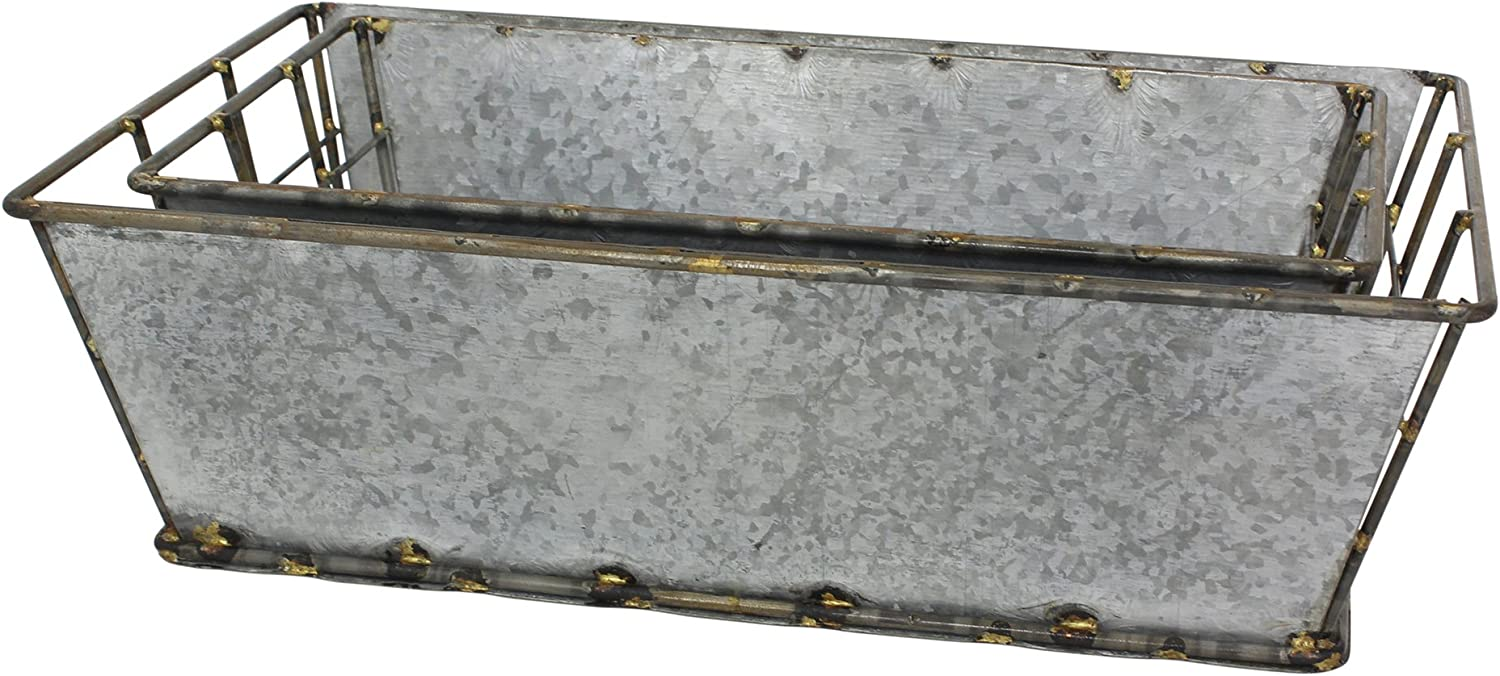 Stonebriar 2pc Rectangle Galvanized Metal Serving Basket Set, Rustic Serving Trays for Parties, Industrial Centerpiece for Coffee or Dining Table, Document Organizer for Office or Kitchen