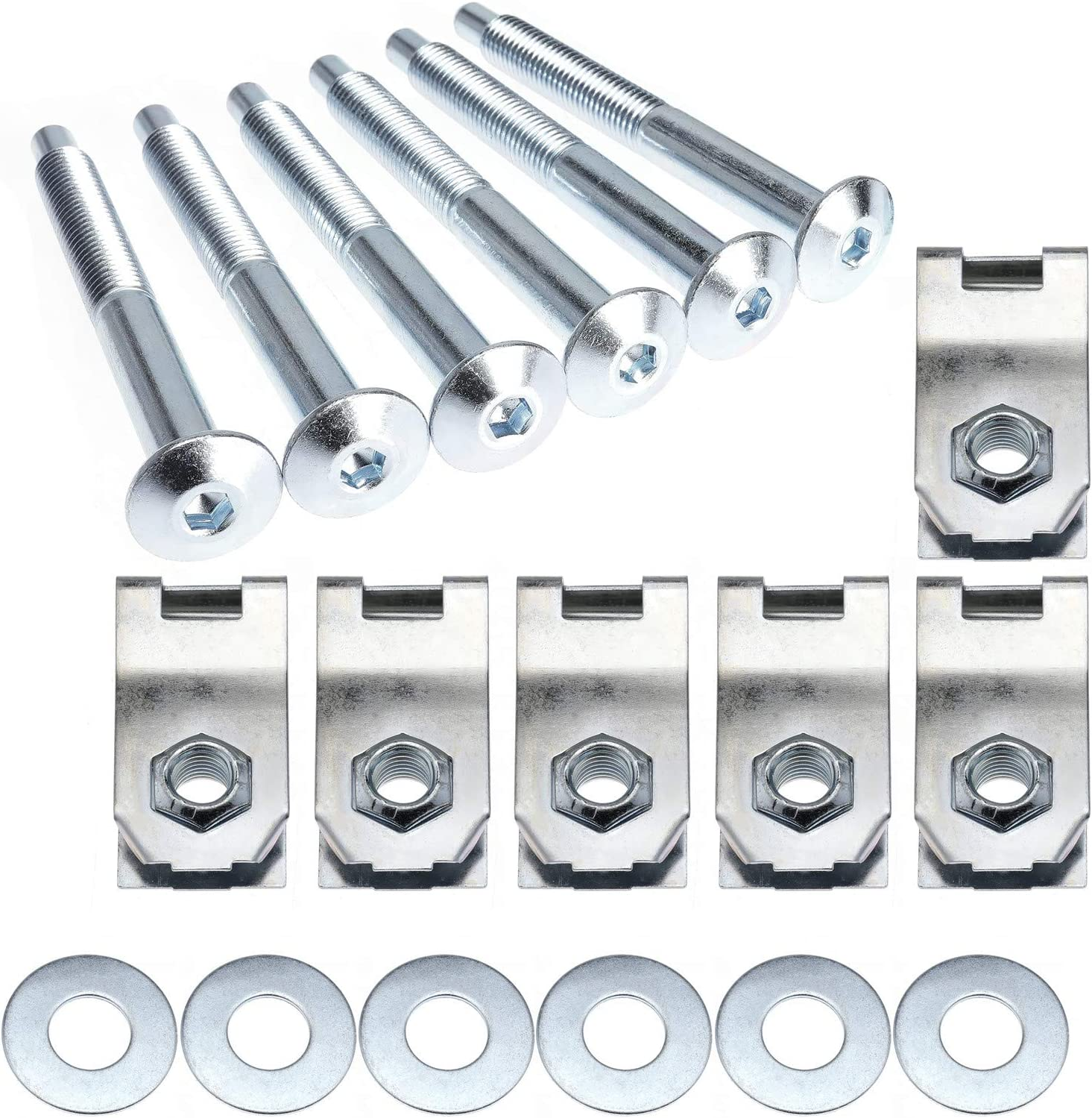 YRANZO Bed Mounting Bolt Nut Hardware Kit for 1997-2012 Ford F150 F250 Lobo 2006-2008 Lincoln Mark LT Replaces Dorman 924-313 W708605S436 W709424S901 Set of 6 Bolts Washers Captured Nuts