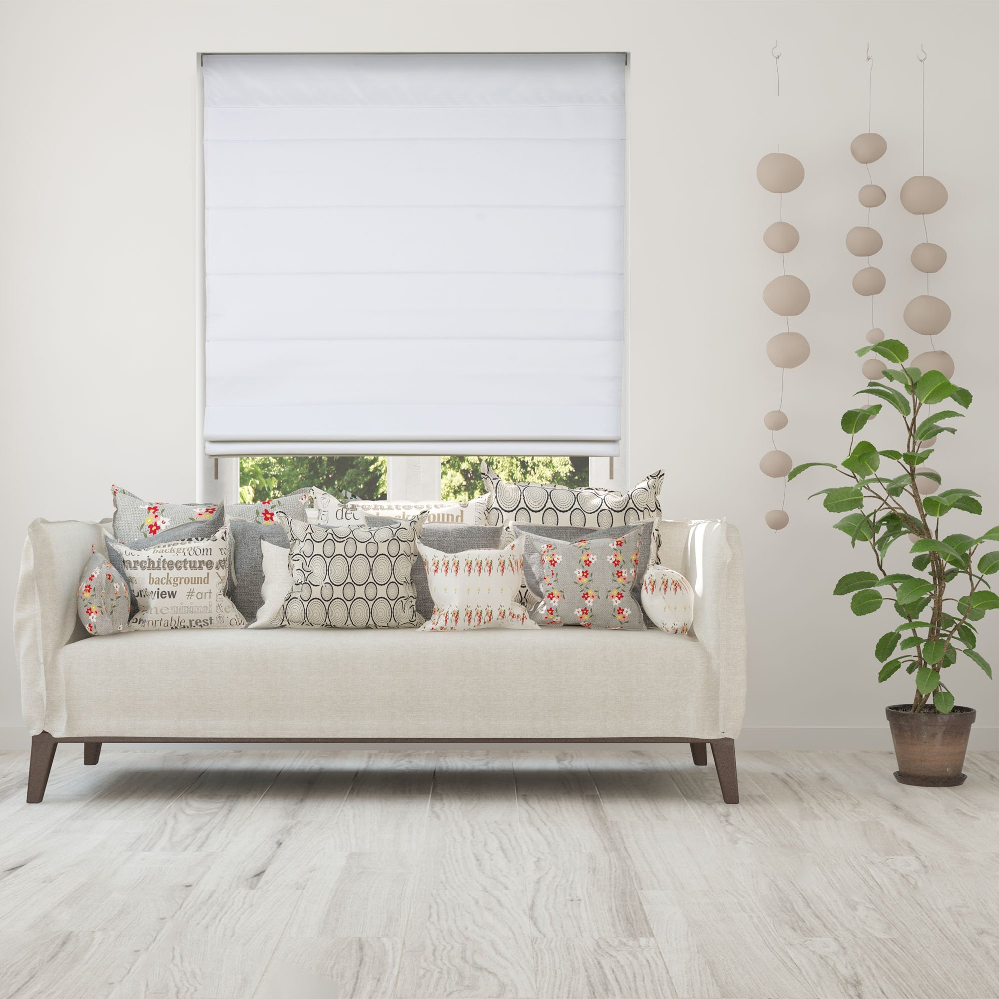 Calyx Interiors Cordless Lift Fabric Roman Shades in Size 34-Inch Width x 60-Inch Height Color Blackout White by Calyx Interiors