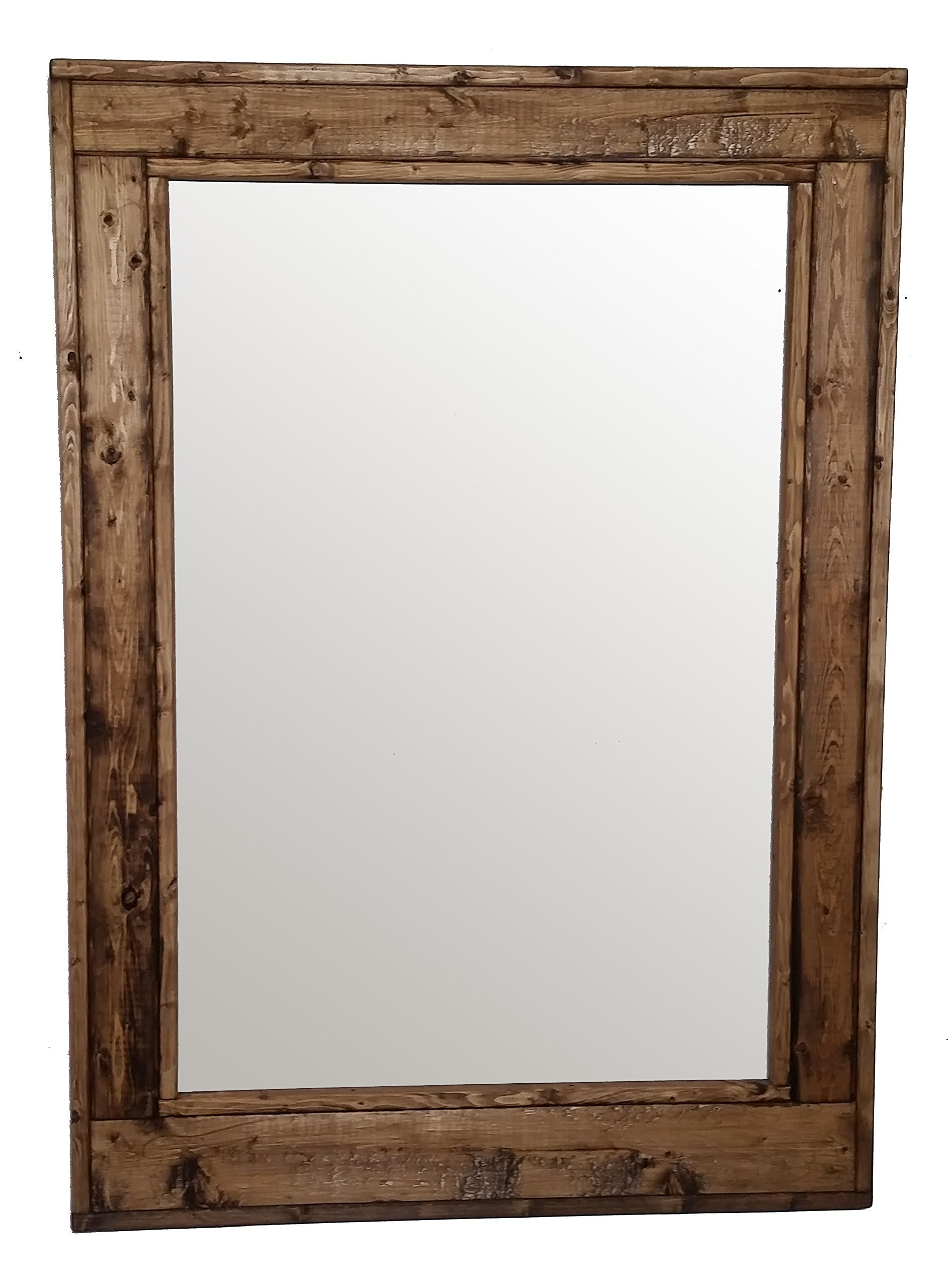 Herringbone 30 x 42 Vertical Framed Mirror Stained in Provincial - Reclaimed Wood Mirror - Large Wall Mirror - Rustic Modern Home - Home Decor - Mirror - Housewares by Renewed Decor