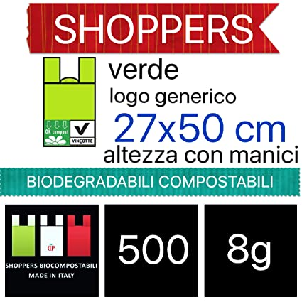 500 SHOPPER BIODEGRADABILI COMPOSTABILI 27X50 MEDIE 500 PZ BIO A NORMA EN13432