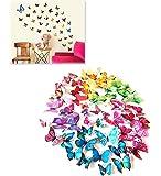 Kit 12 farfalle GIALLO 3D adesivi per pareti vari colori decorazione casa stickers murali