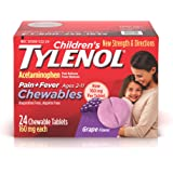 Tylenol children's Pain plus Fever, Grape, 24 Chewable Tablets (Pack of 2)