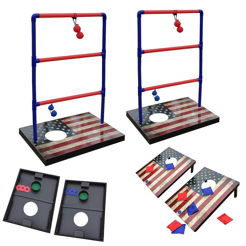 SPORT BEATS 3 in 1 Combo Toss Games,Ladder Ball Toss,Corn Hole Boards Bean Bag Toss Game, Washers Toss Game,Yard Outdoor Family Game-Backyard Fun Camping Games
