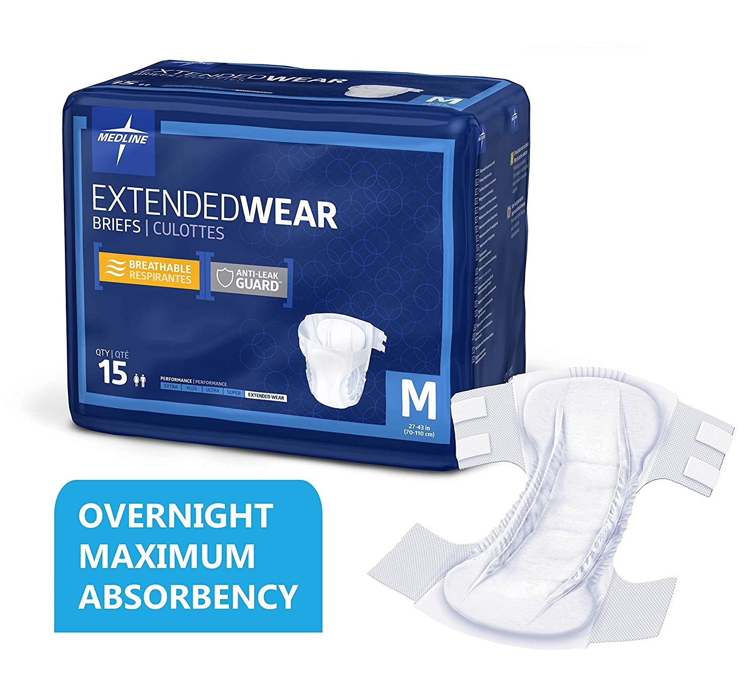 Medline - MTB80300Z Extended Wear Overnight Adult Briefs with Tabs, Maximum Highest Absorbency Adult Diapers, Medium (15 Count)
