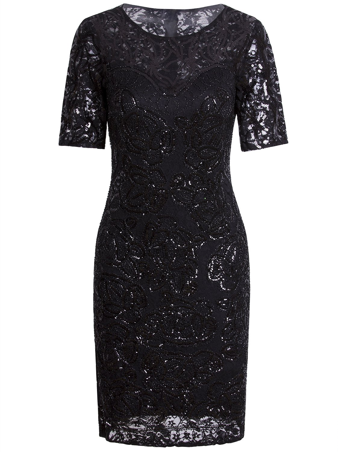 Vijiv Vintage 1920s Gatsby Sequin Beaded Lace Cocktail Party Flapper Dress With Sleeves,X-Large,Black
