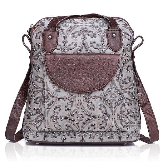 Amazon.com  APHISON Women Backpack Purse Leather Embossing Ladies Rucksack  Shoulder Bag 83559 (GREY)  Clothing 9c98014182449