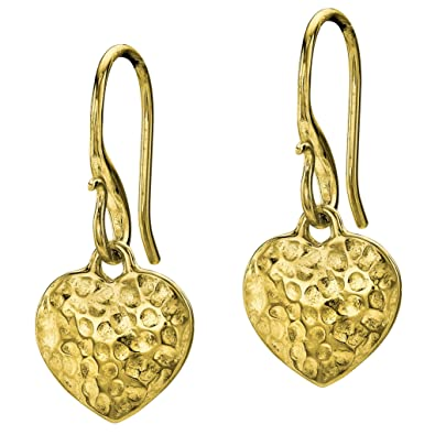 Dower & Hall Memento Vermeil Dimple Heart Drop Earrings of 2.2cm w4Hr2Nw6gK