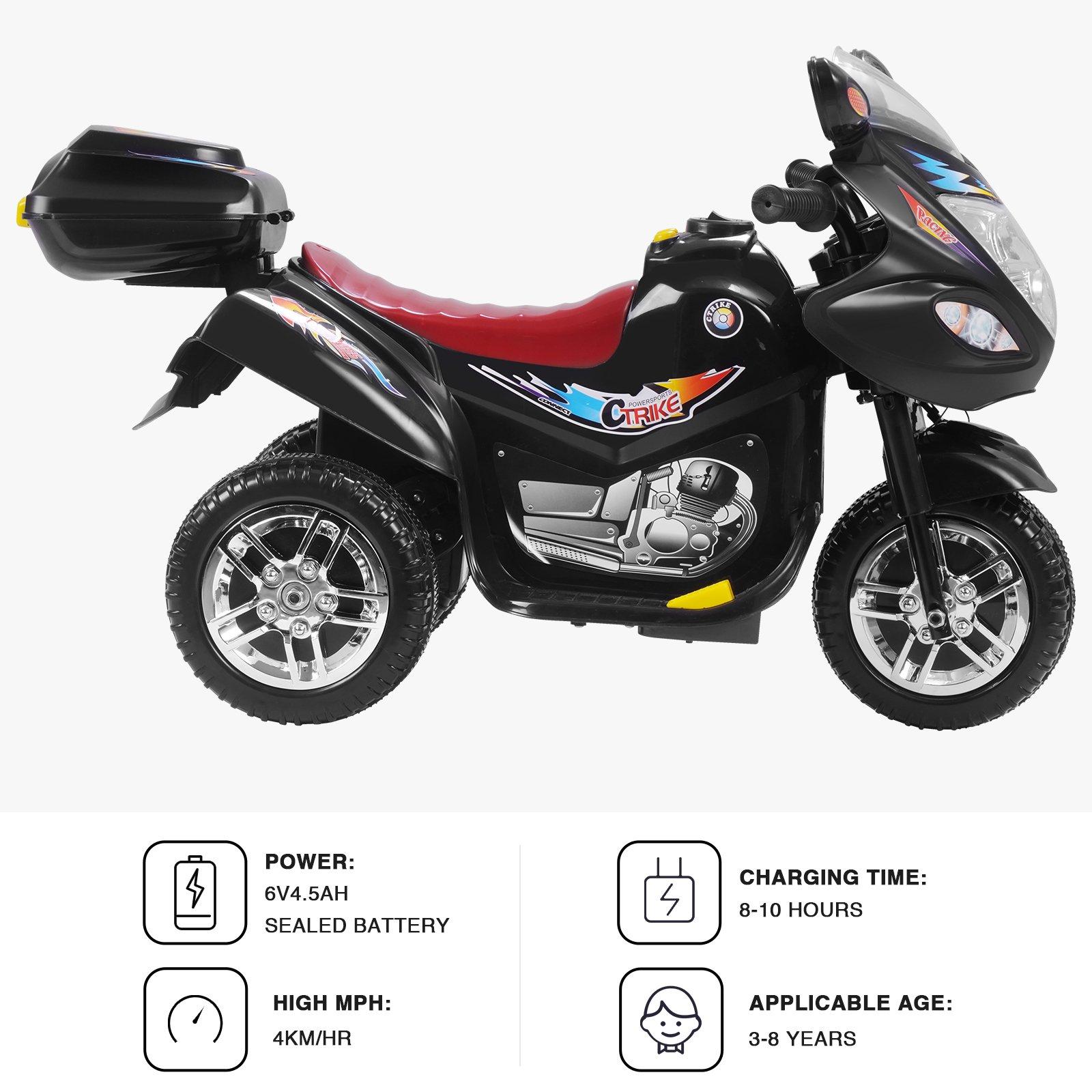 Uenjoy Murtisol Kids Ride on Motorcycle 6V Electric Motorcycle 2 Wheels Black by Uenjoy (Image #3)