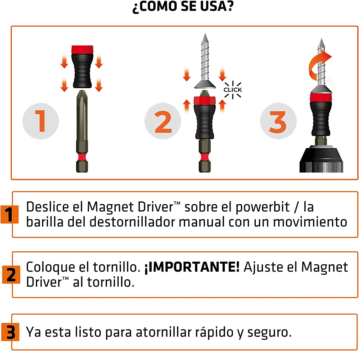Adaptable to Any Screwdriver or Drill. The Great Invention That Holds The Screws and Allows Screw with One Hand Bit Holder Magnetic Magnet Driver/® B50