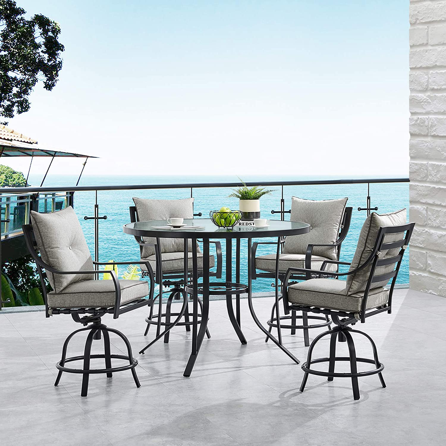 Hanover LAVDN5PCBR-SLV Lavallette 5-Piece Counter-Height Silver Linings with 4 Swivel Chairs and a 52-in. Round Glass-Top Table Outdoor Dining Set