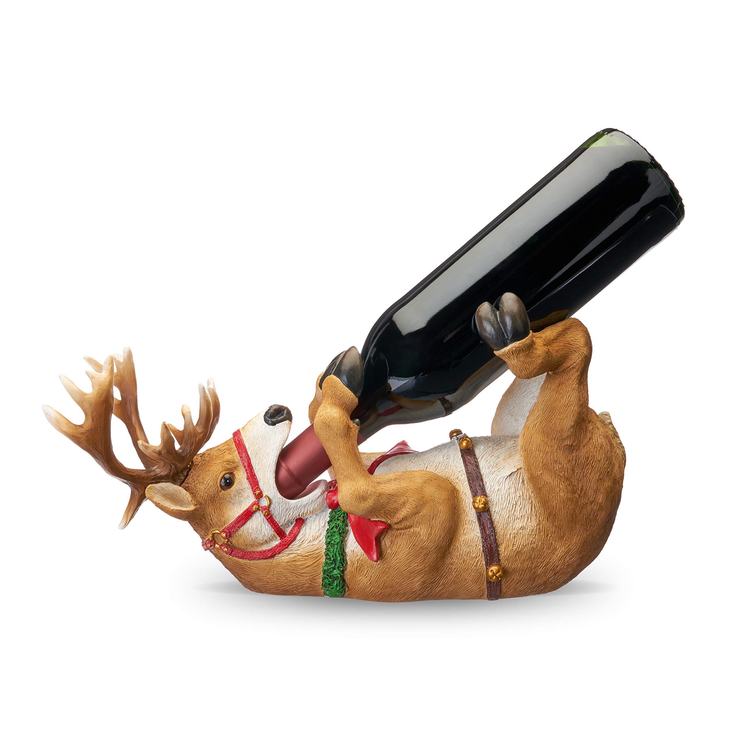 TRUE 5771 Reindeer Wine Bottle Holder, One Size by True