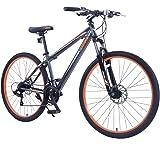 """GTM 27.5"""" Men's Mountain Bike Shimano Hybrid Bicycle ,Grey & Orange"""