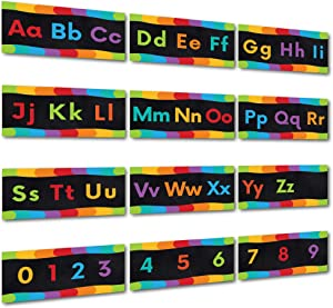 Sproutbrite Alphabet Wall Classroom Decorations and Bulletin Board Border Set Variation Including Numbers 0-9 (Black)