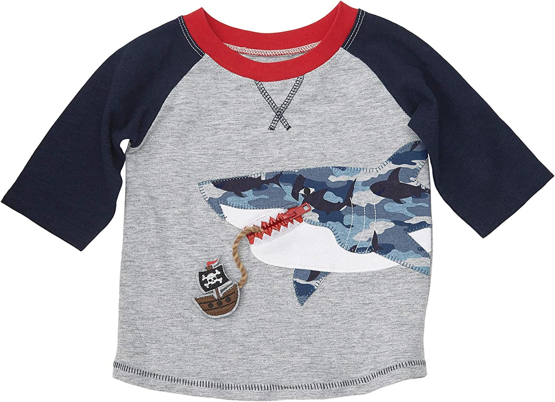 Mud Pie Baby Boys Shark Camo Long Sleeve Raglan T-Shirt