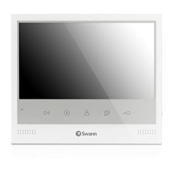 """Swann SWADS-DP885C-US Expandable Intercom and Video Door Phone with 7"""" LCD  Monitor, White"""