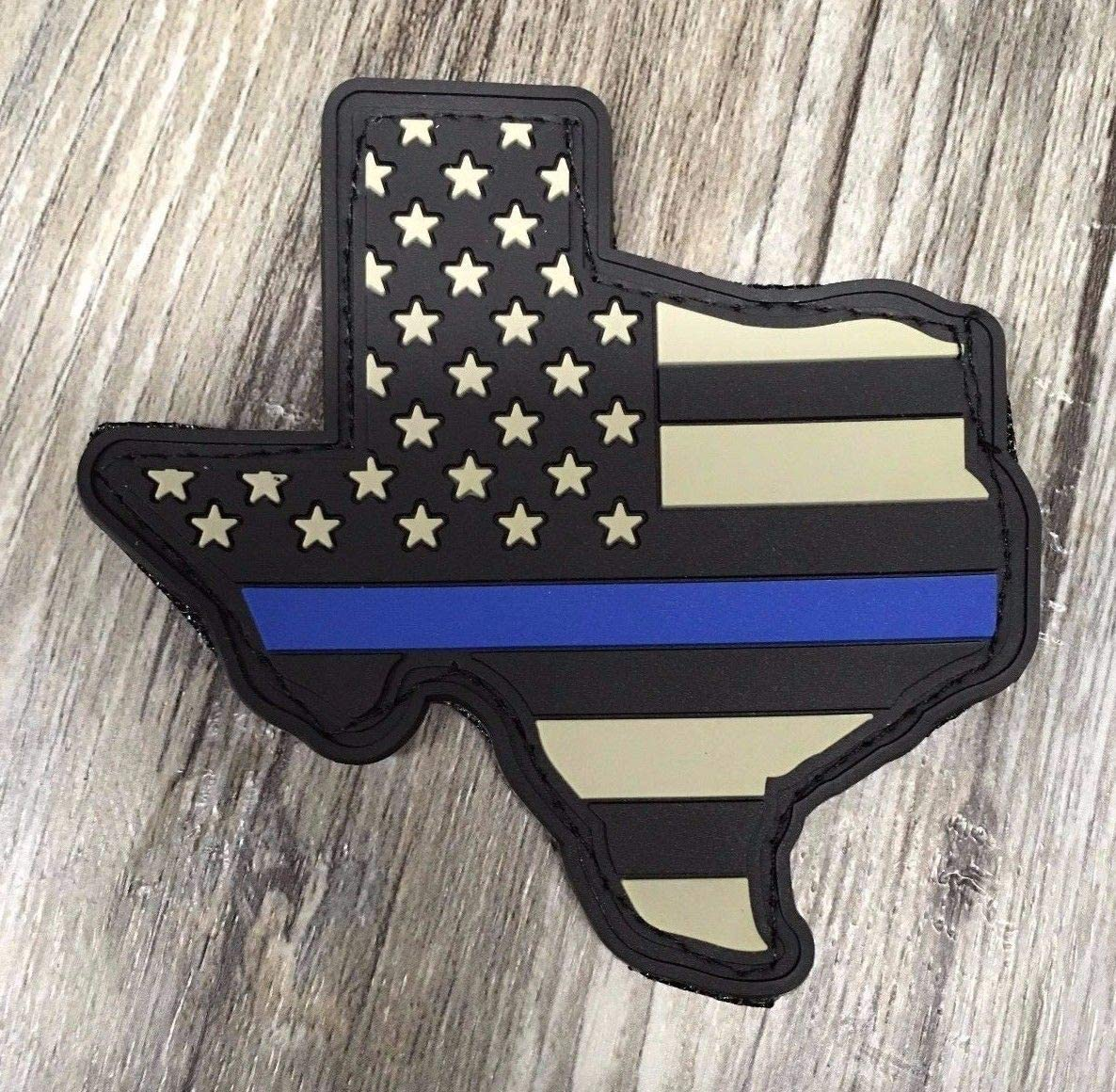 Subdued American Flag Thin Blue Line State of Texas PVC Patch