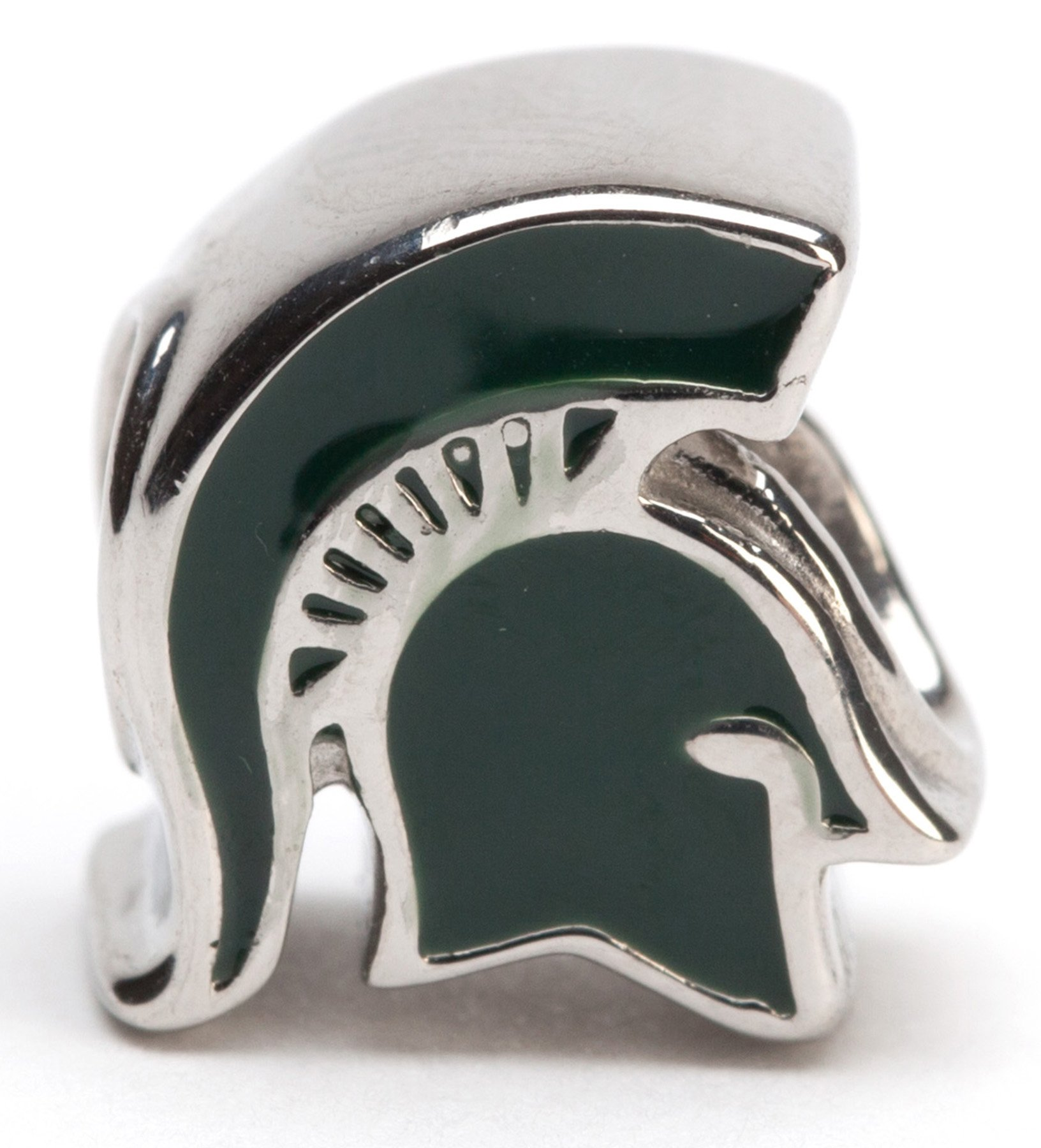 Michigan State Bracelet | MSU Spartans Charm Bracelet with 3 Spartan Charms and 4 Crystal Beads | Officially Licensed Michigan State University Jewelry | Michigan State Gifts | Stainless Steel by Stone Armory (Image #3)
