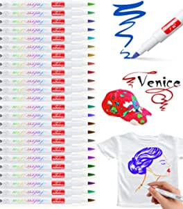 Baozun Rotuladores textiles 24 colores, lavables a máquina, lápices de colores permanentes para camisetas, bolsas de yute, bolsa de tela