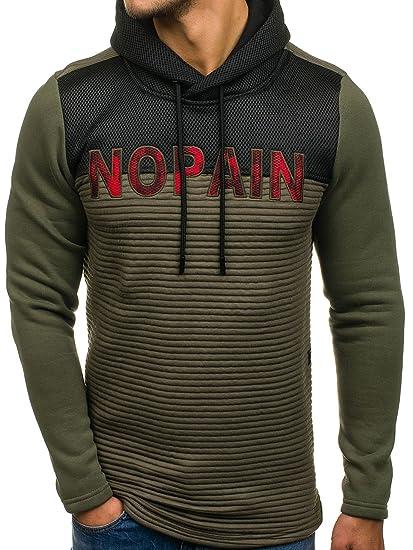 BOLF Herren Kapuzenpullover Hoodie Pullover Sweatshirt mit Kapuze Kordel Top 1A1