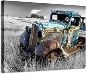 Rusty Truck Canvas Wall Art: Vintage Blue Car Pictures Country Artwork Prints for Living Room (45