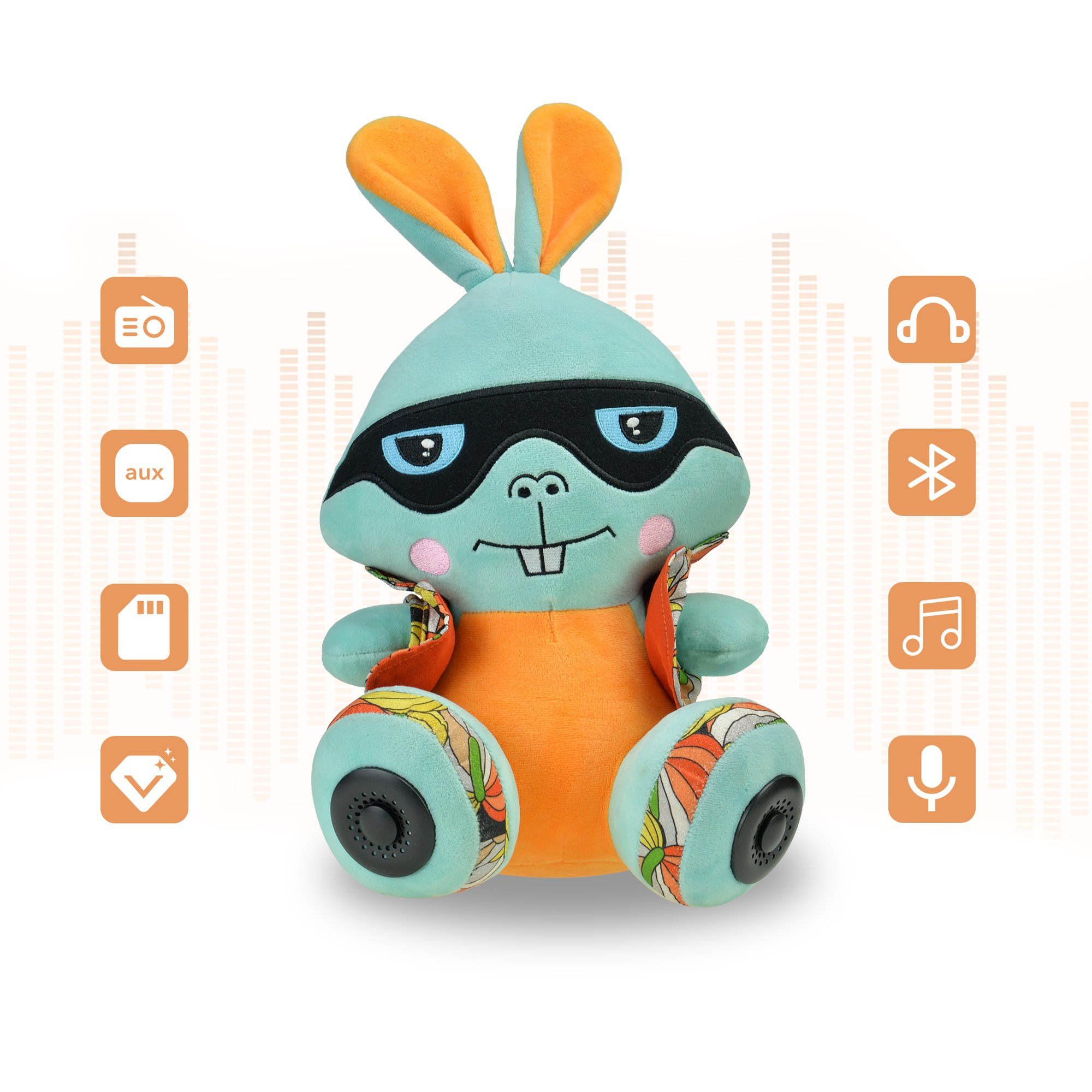 CALEEO Portable Bluetooth Speaker Funny rabbit with Built-in-Mic,Handsfree Call,AUX Line,TF Card,HD Sound and Bass for Iphone Ipad Android Smartphone (Bunny2)