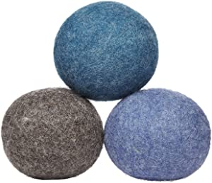 LooHoo Wool Dryer Balls Deluxe 3-Pack 100% Domestic Wool, Made in Maine, USA, Reusable, Natural Fabric Softener - Random Mix