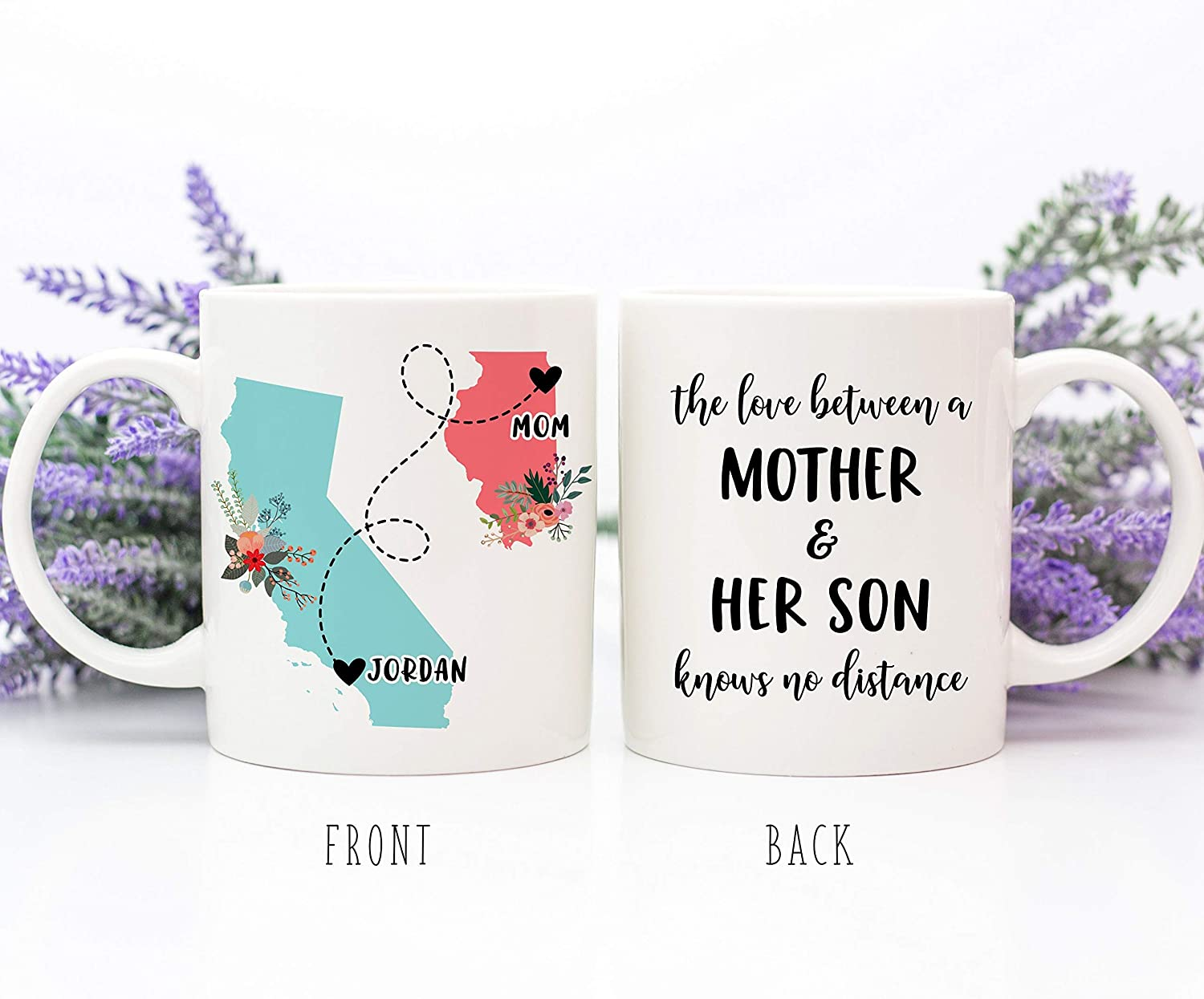 Taza de café The Love Between A Mother and Her Son Knows No Distance Regalo de larga distancia, regalo para el Día de la Madre