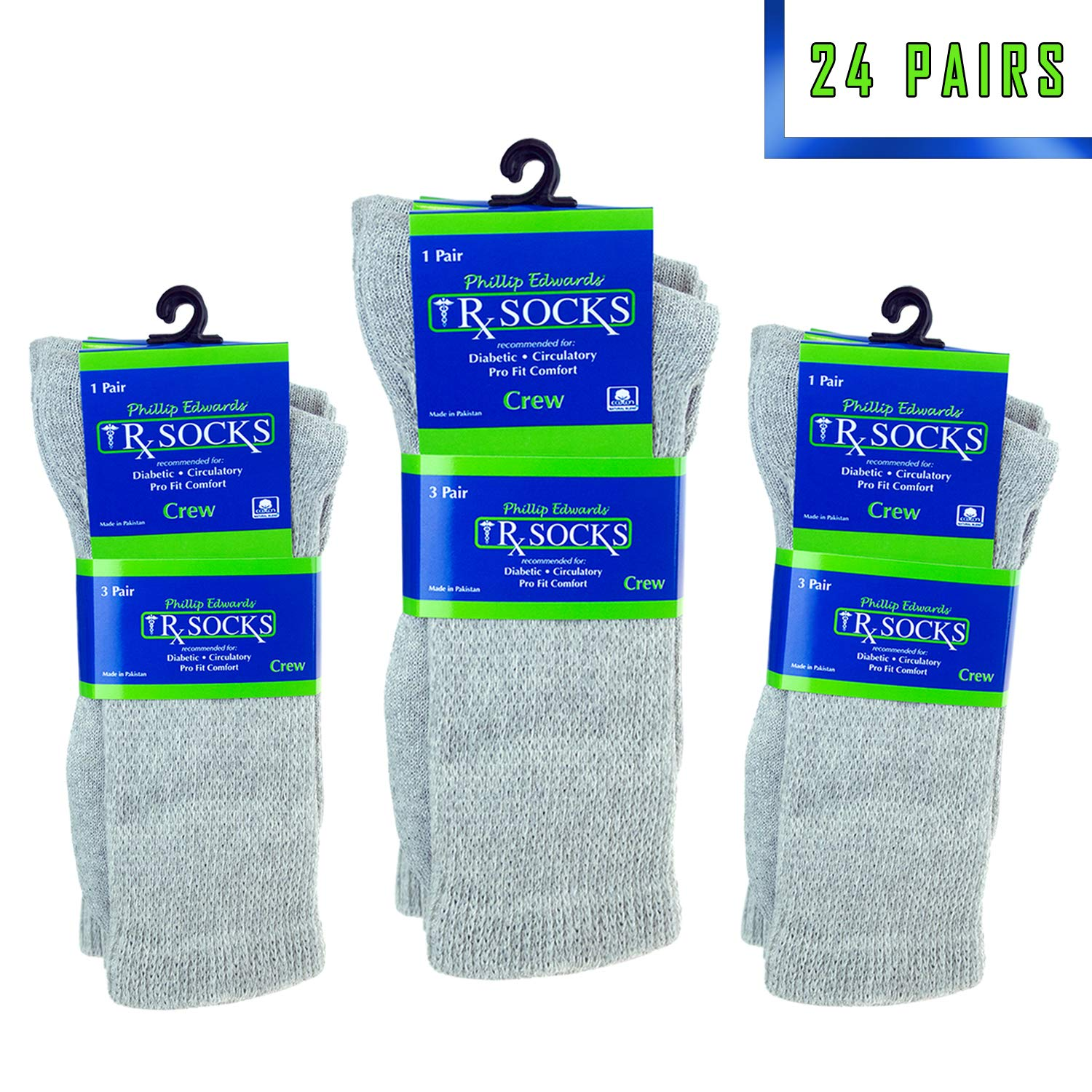 24 Pairs Physicians Approved Diabetic Socks Crew Loose Fit Size 9-11 for Men and Women in Grey