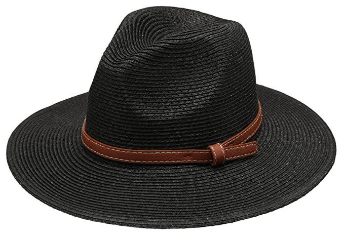 1fb77adef4 Epoch hats Women's Braid Straw Wide Brim Fedora Hat UPF 50+ w/Adjustable  Drawstring