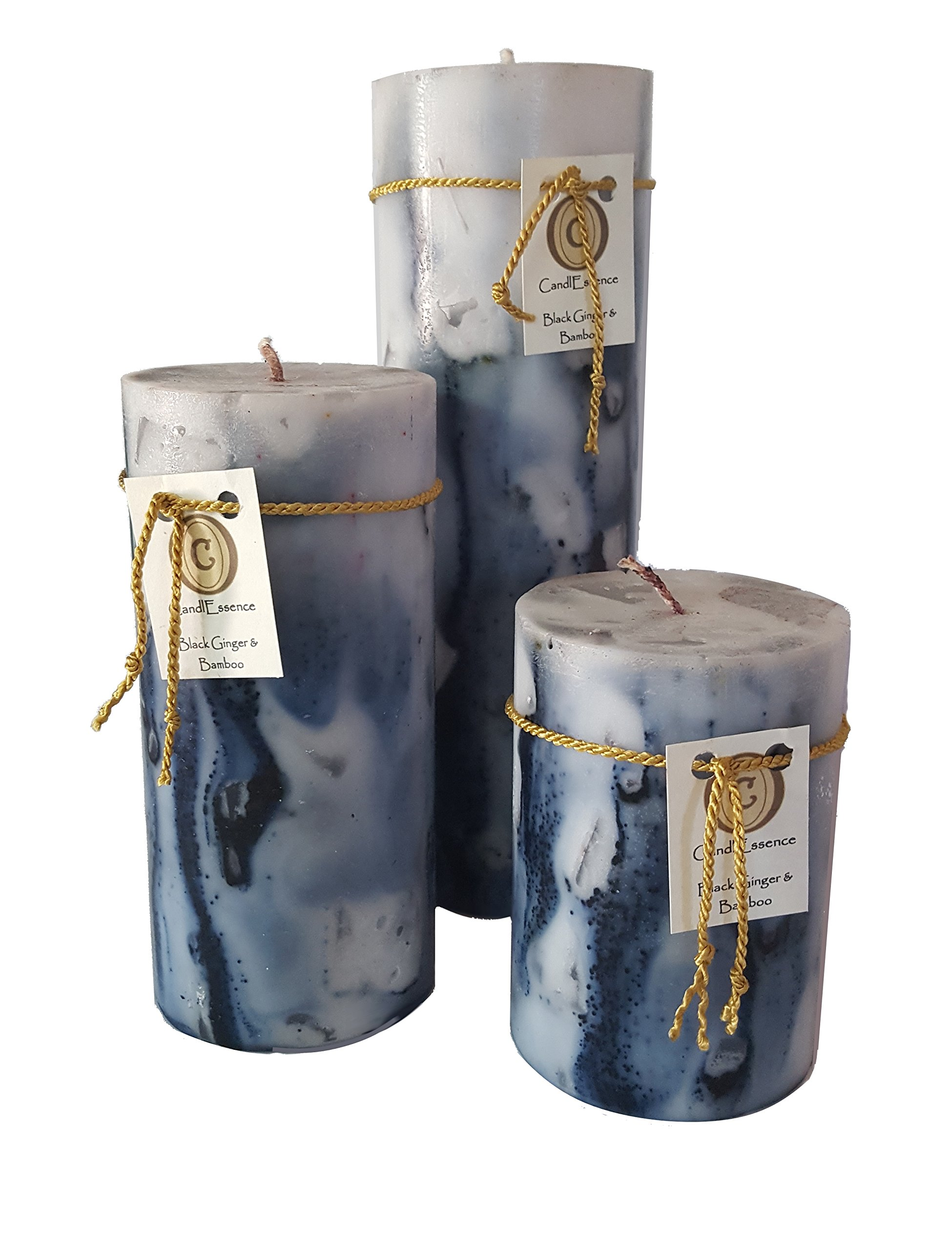 Scented Pillar Candle - Long Burning Handmade - Black Ginger & Bamboo (Set of 3)