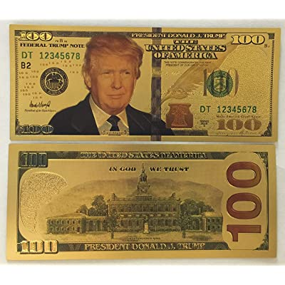 Authentic $100 President Donald Trump Authentic 24kt Gold Plated Commemorative Bank Note Collectors Item by Aizics Mint: Toys & Games