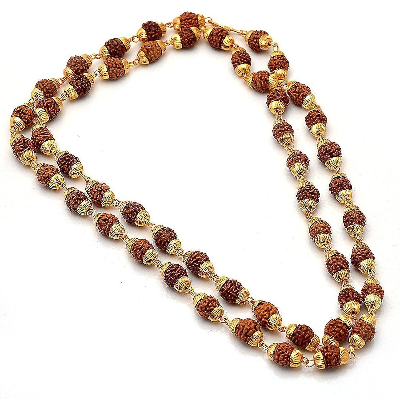 0b7dc8bff Charms Rudraksh Mala Shiva God Gold Plated Rudraksh Long Mala Chain 28  inches for Men (