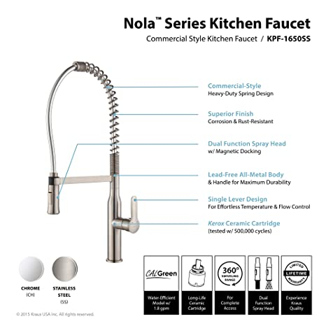 Kraus KPF1650SS Modern Nola Single Lever Commercial Style Kitchen – All Metal Kitchen Faucet