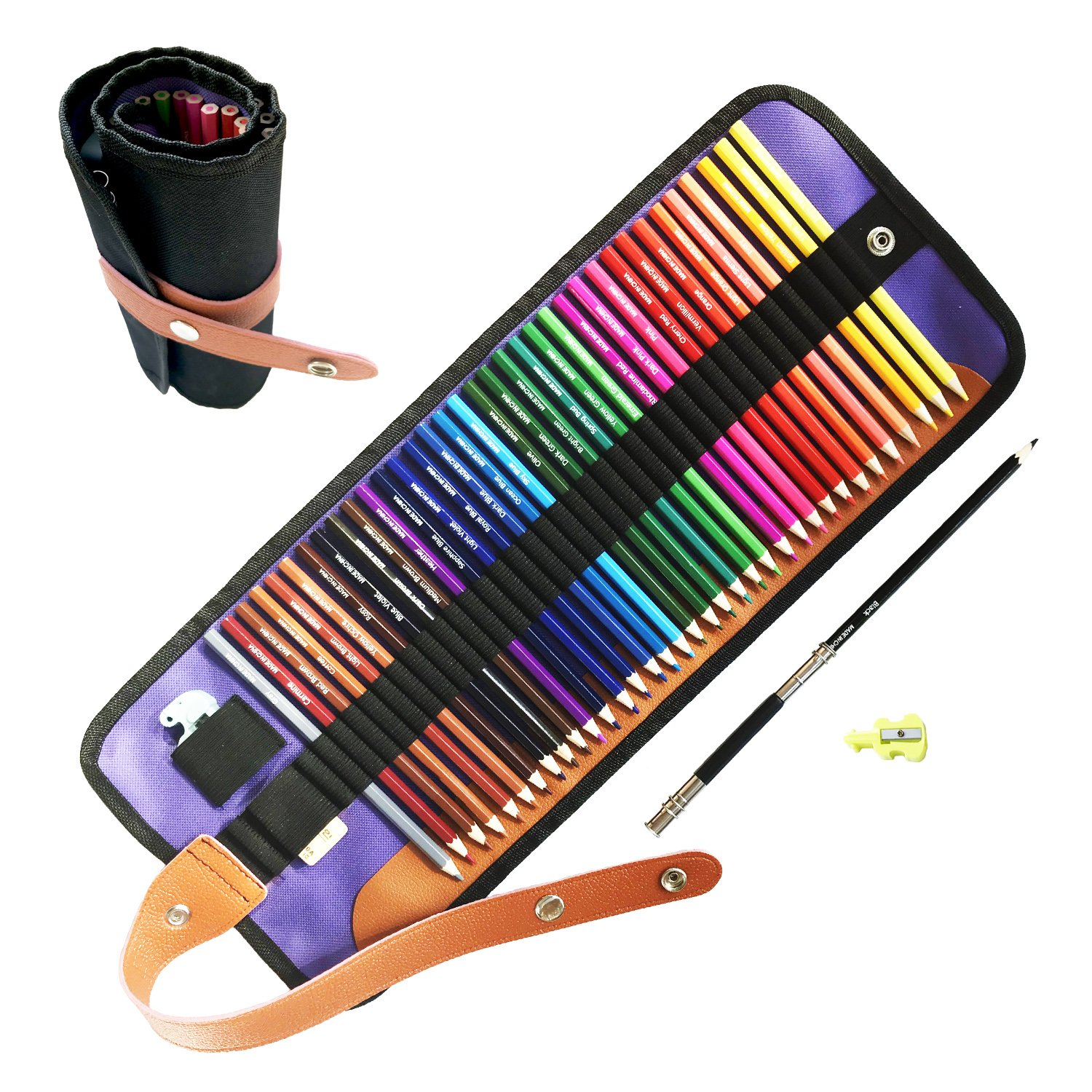 36 Colored Pencils Set with Easer,Sharpener, Pencil Extender and Canvas Pencil Bag, Drawing Pencils for Sketch, Arts, Coloring Books