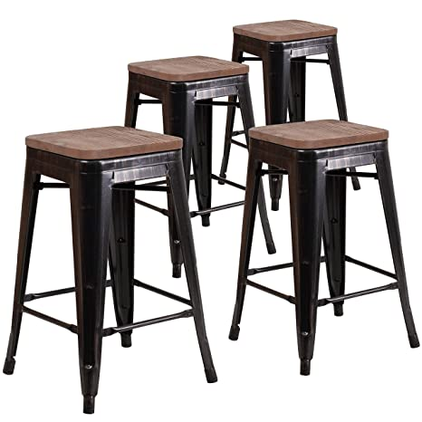 Outstanding Taylor Logan 24 Inch High Backless Metal Counter Height Stool With Square Wood Seat Set Of 4 Black Antique Gold Customarchery Wood Chair Design Ideas Customarcherynet