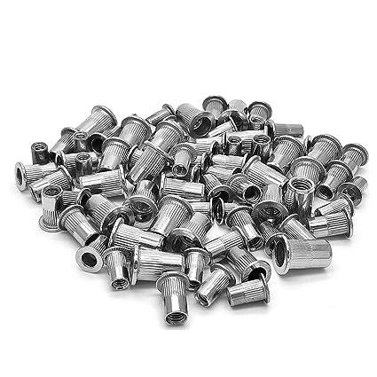 Veda - Surtido de remaches, 100 unidades, de acero inoxidable con rosca, 25 de M4, 25 de M5, 25 de M6, 25 de M8