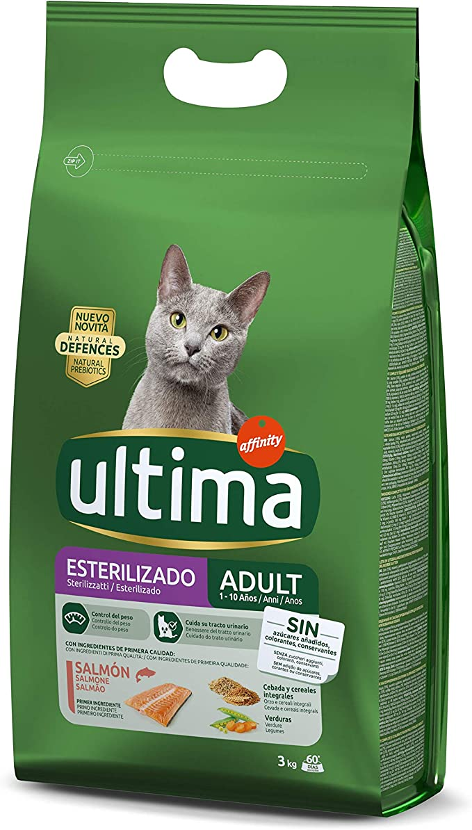 Ultima Pienso para gatos esterilizados adultos con salmón - 3 kg ...