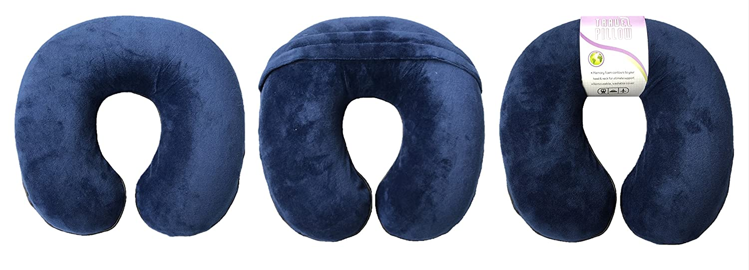 Memory Foam U-Shaped Neck Travel Pillow Washable Plush Velour Cover. /(Black/) Zenex