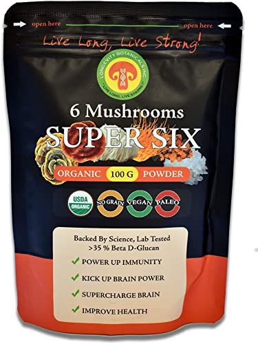 Longevity Botanicals Organic Super Six Mushroom Blend Powder Extract USDA Lions Mane Reishi Chaga Cordyceps Tremella Turkey Tail Fruiting Body No Filler Immunity Energy Mental Clarity.Much More
