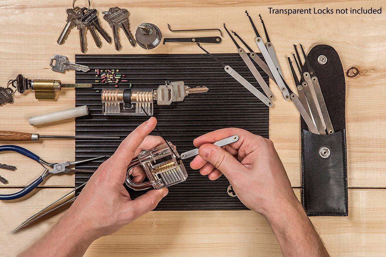 guida professionale Set Fabbro Kit Strumento 15pcs Lock Pick in una borsa con cerniera nera con lucchetto pratica trasparente 2 chiavi