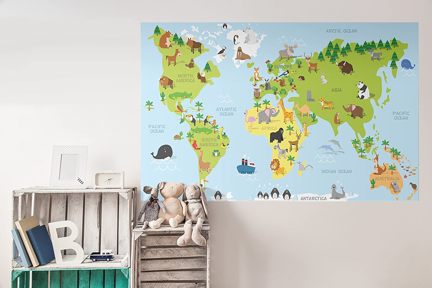 Amazon com costacover world map wall decal sticker for kids educative world map wallpaper easy to remove 36 x 56 home kitchen
