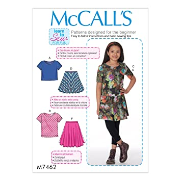 McCall Patterns M7462GRL Knit Tops & Flared Skirts Sewing