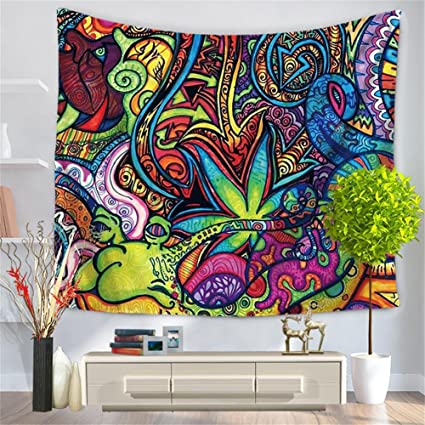Amazon Com Qees Psychedelic Bohemian Wall Art Tapestry Colorful