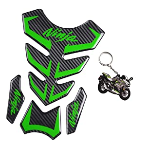 REVSOSTAR 5D Real Carbon Fiber, Motorcycle Decal Vinyl Tank Protector, Tank Pad with Keychain for Ninja 650 ZX636 ZX600 ZX-10R ZX14 ZX1400 ZX14R ABS 1000 ZX100, 2 Pcs Per Set