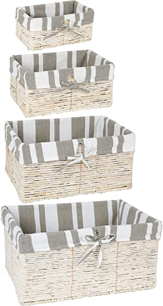 4 Piece Wicker Basket Set Nesting Baskets   Lined Wicker Storage Containers  For Home Organization