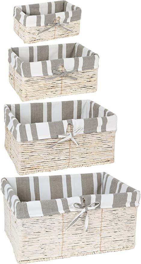 Juvale 4 Piece Wicker Basket Set Nesting Baskets   Lined Wicker Storage  Containers For Home Organization